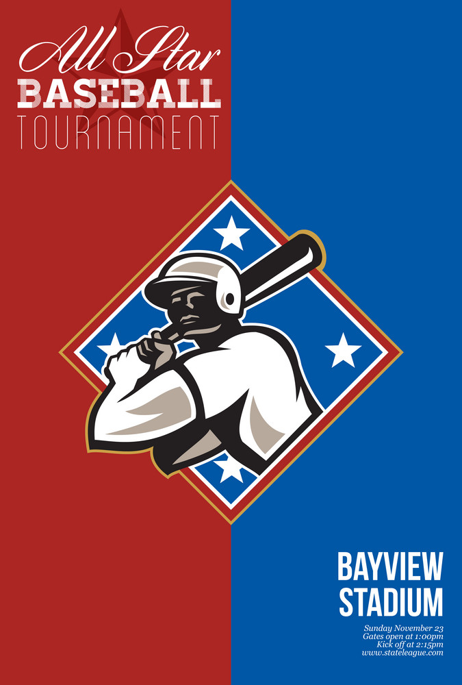 All Star Baseball Tournament Retro Poster