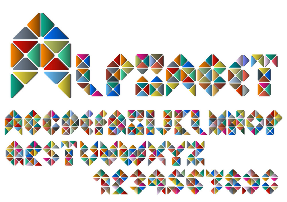 Alphabet Letters And Numbers From Colorful Mosaic
