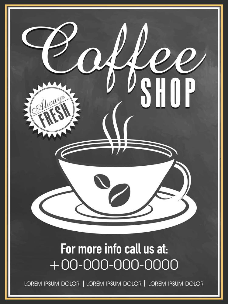 Always Fresh Coffee Shop menu card design in chalkboard style.