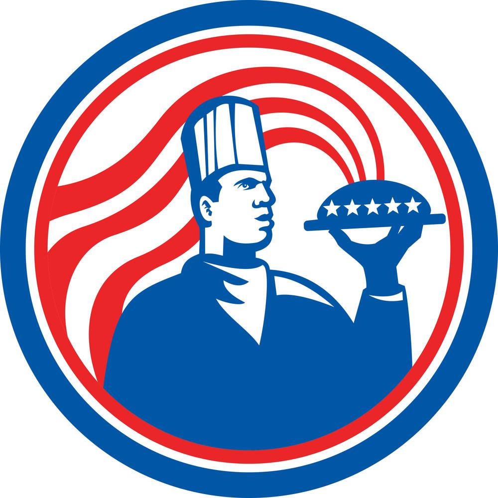 American Chef Cook Serving Food Platter Retro