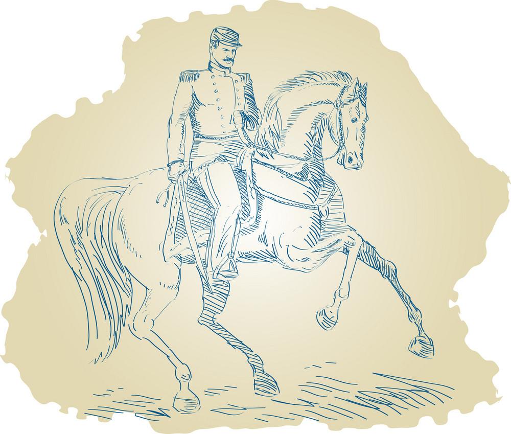 American Civil War Union Officer On Horseback