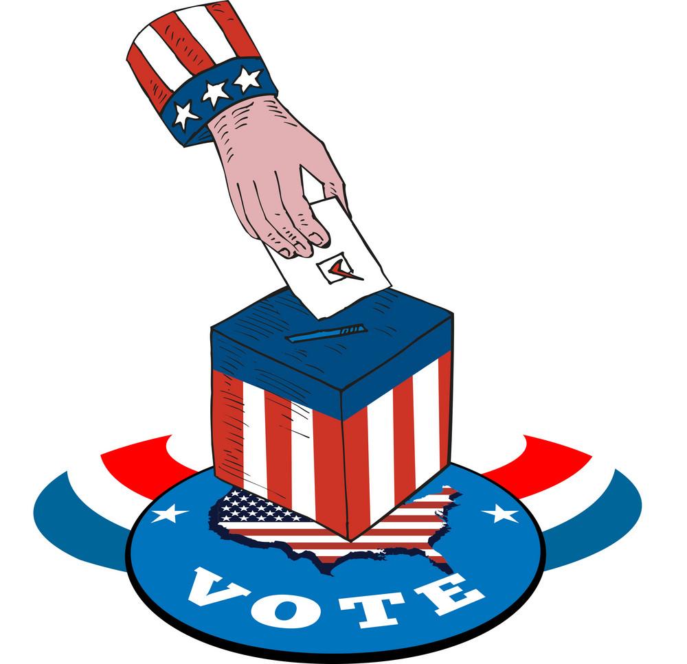 American Election Voting Ballot Box Retro