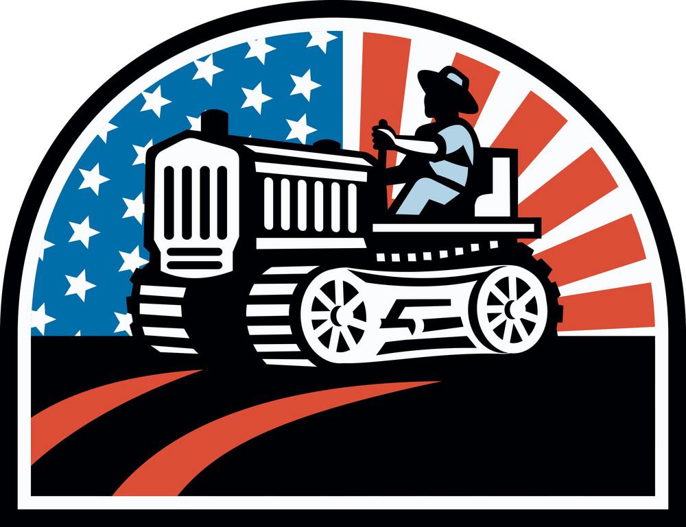 American Farmer Riding Vintage Tractor