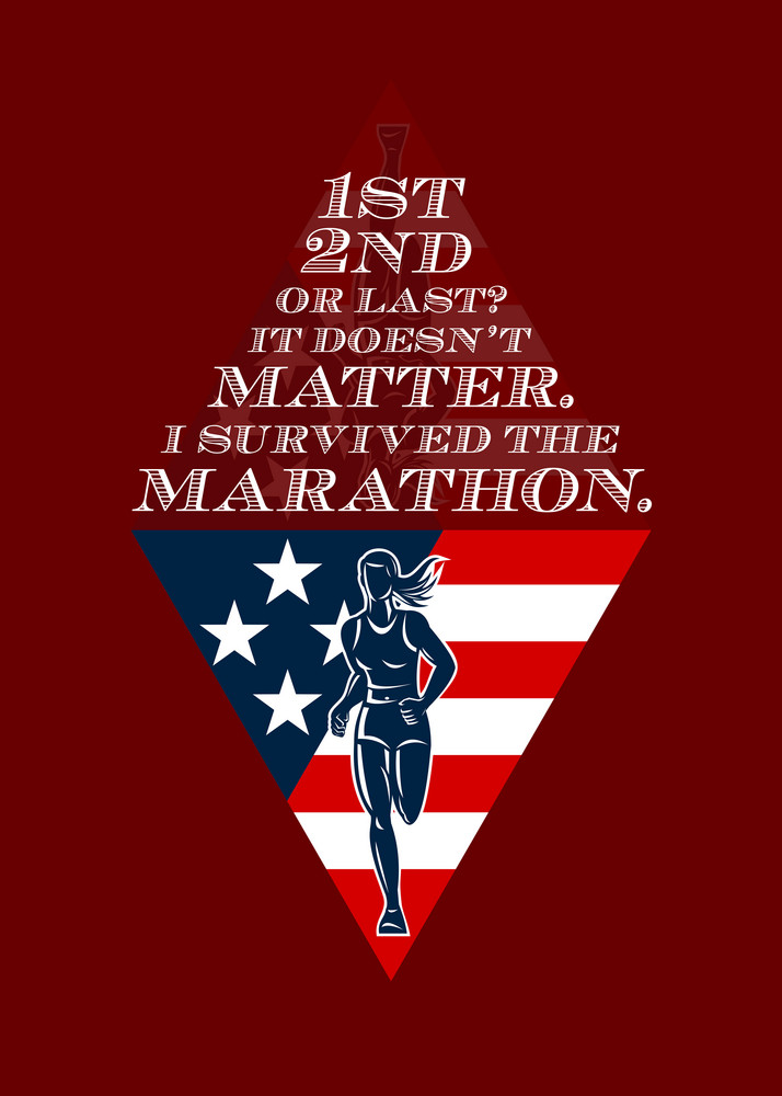 American Female Marathon Runner Retro Poster