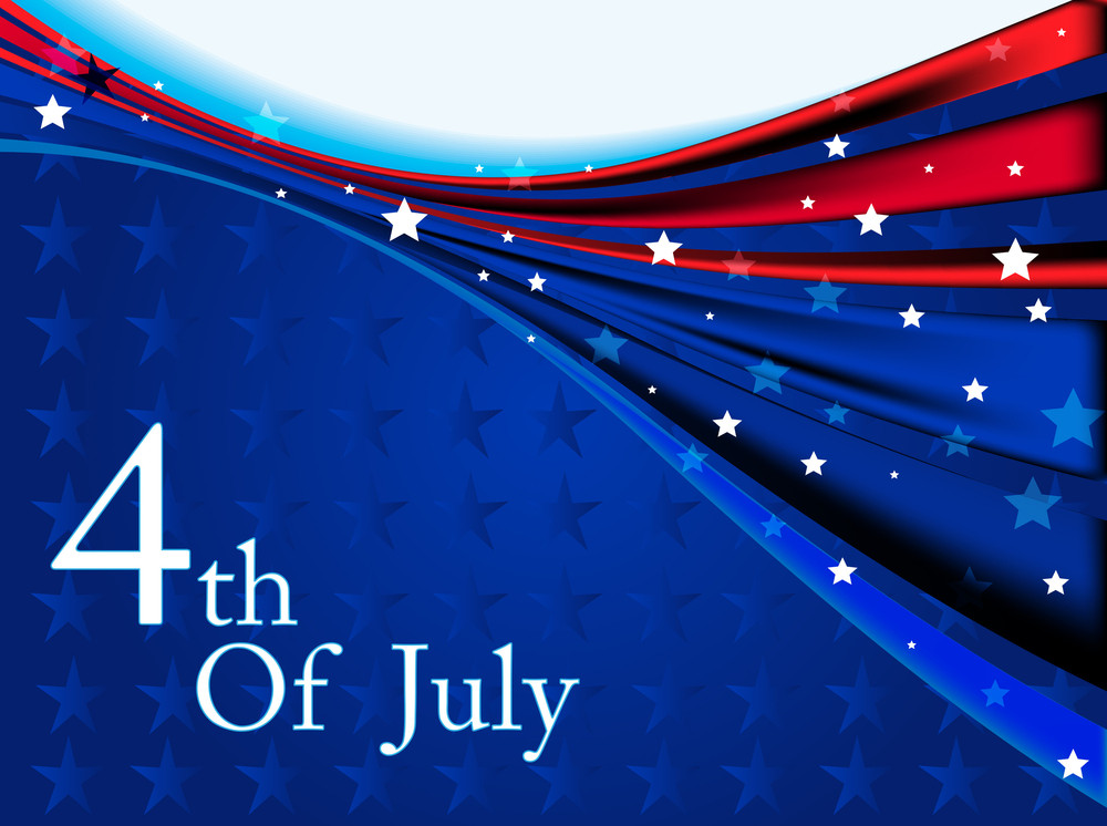 American Flag Background With Stars And Waves Symbolizing 4th July Independence Day.