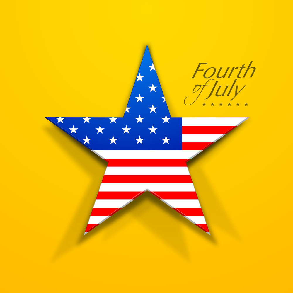 American Flag In Star Shape On Yellow Background