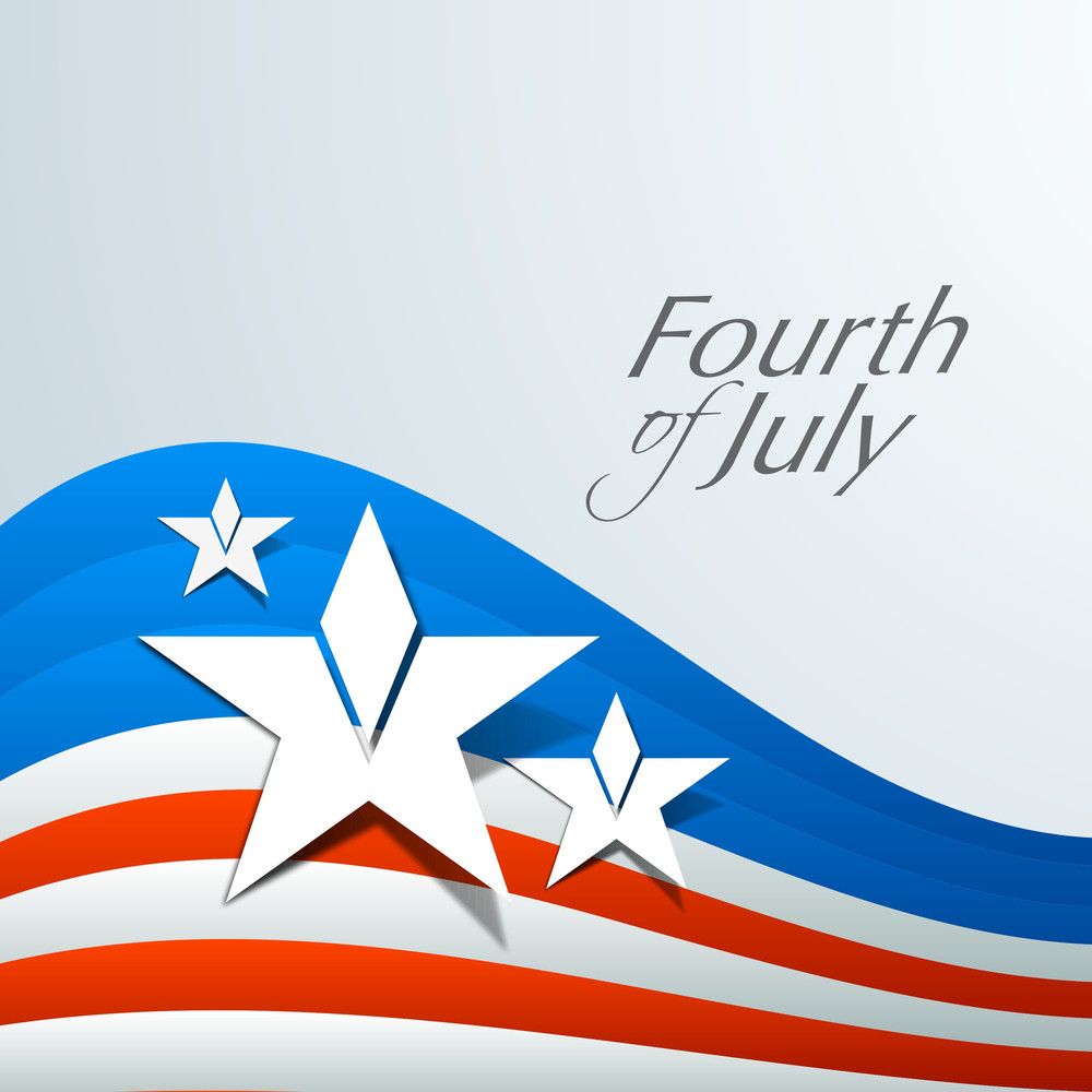 American Flag Waving Background With Stars And Text
