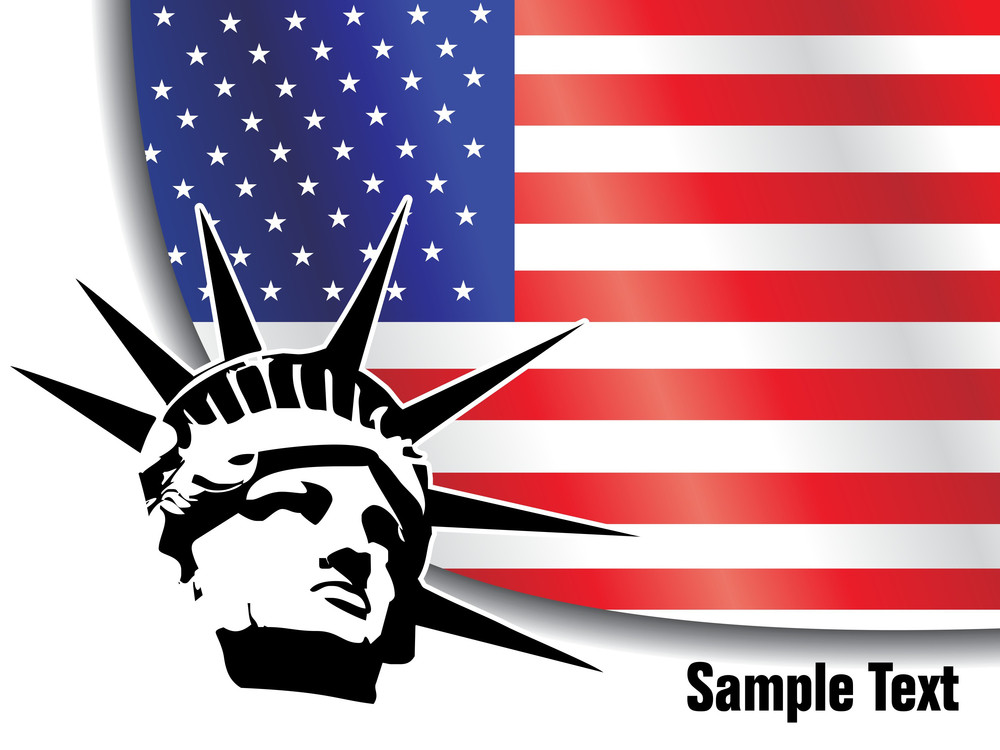 American Flag With Liberty Statue