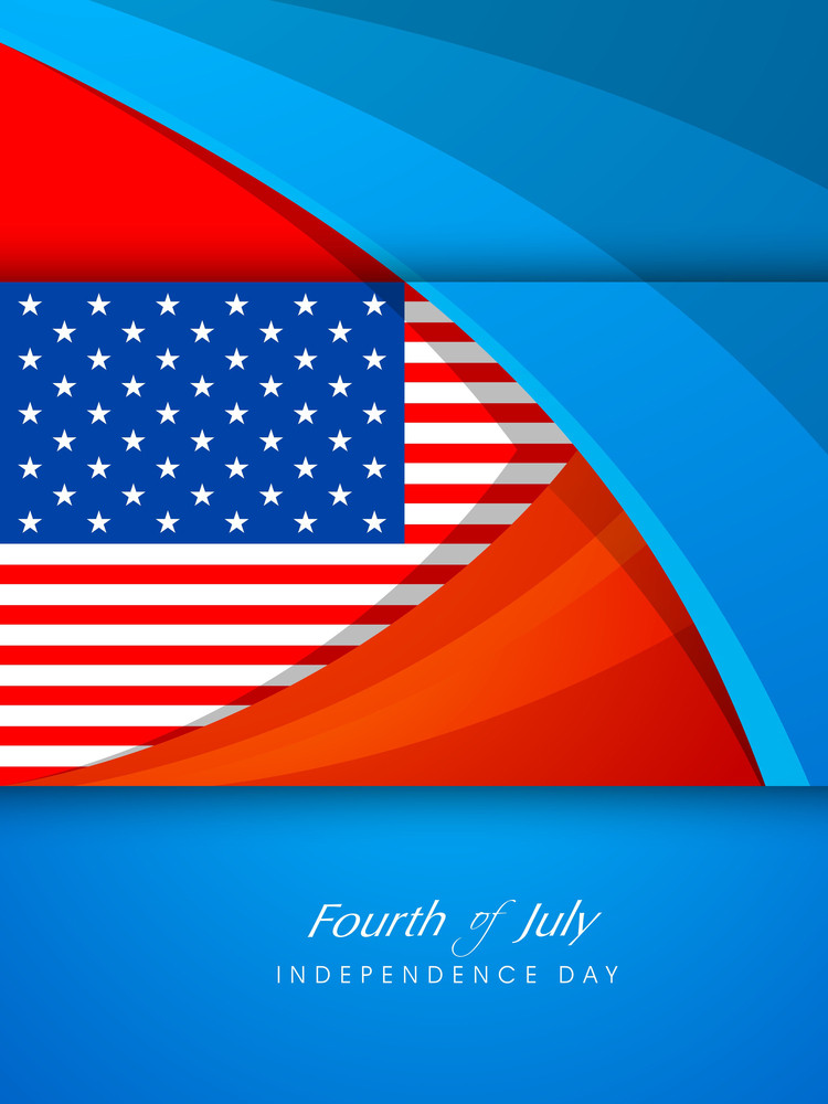 American Flag With Text Fourth Of July