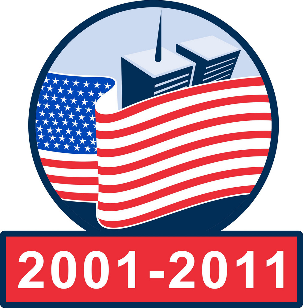 American Flag With Twin Tower Building 2001-2011
