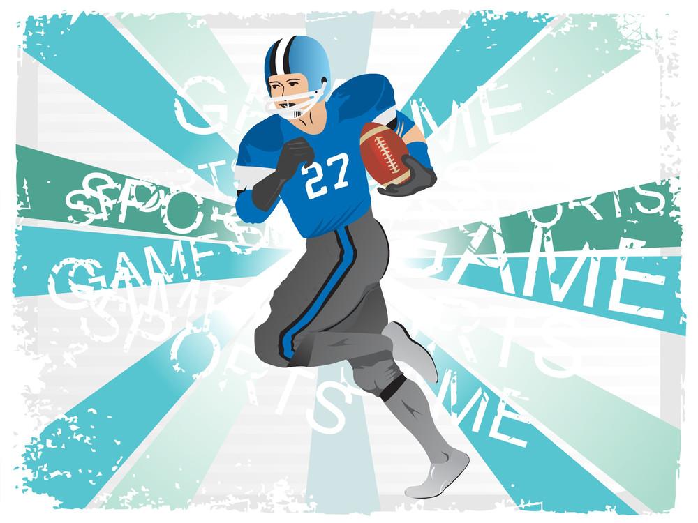 American Football Player Grunge Frame