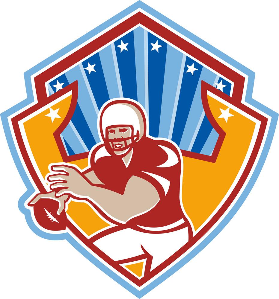 American Football Quarterback Star Shield