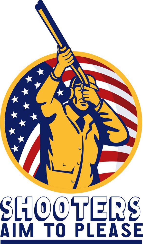 American Hunter Aiming Shotgun Rifle Flag