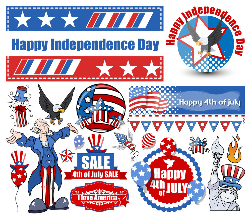 American Independence Day Vector Designs Set