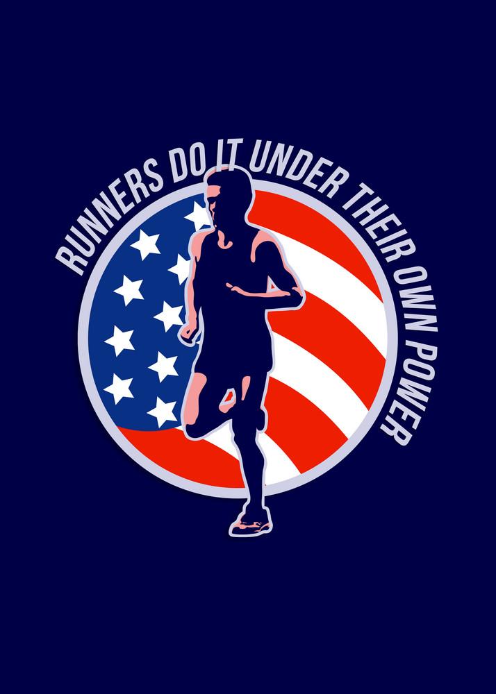 American Marathon Runner Running Power Retro