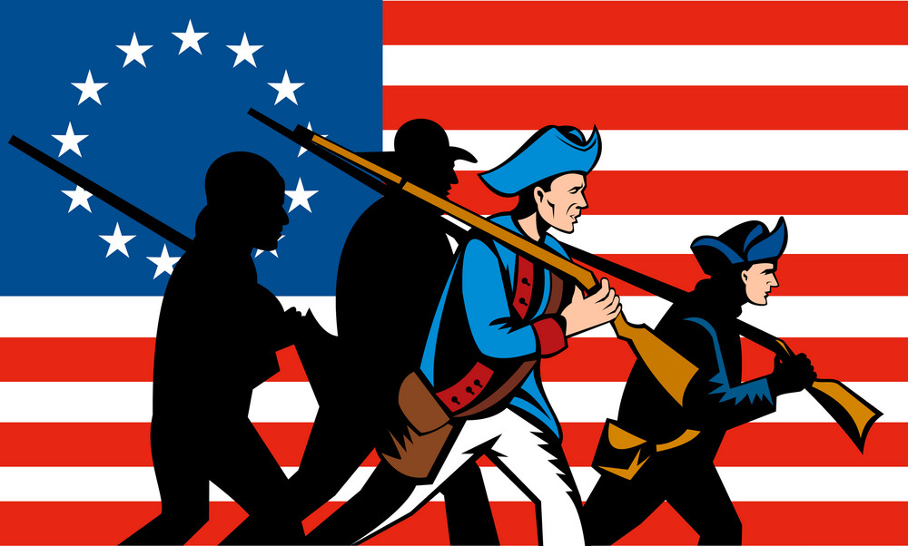 american minuteman militia betsy ross flag royalty free stock image rh storyblocks com minuteman clipart National Guard Minuteman Clip Art