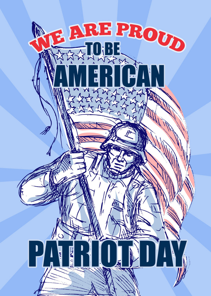 American Patriot Day Poster Greeting Card