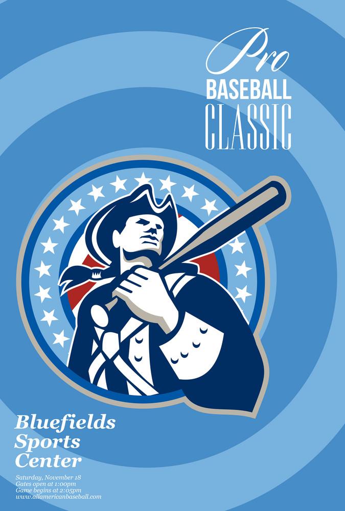 American Patriot Pro Baseball Classic Poster Retro