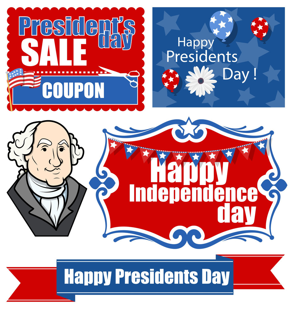 American Patriotic Theme Design Festival Presidents Day Vector Set