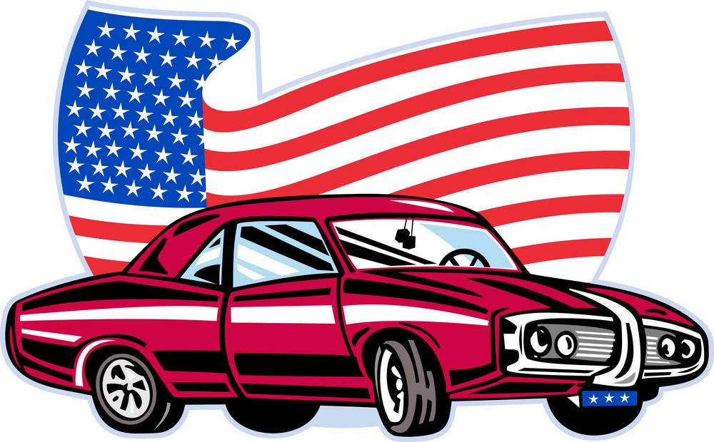 American Pontiac Muscle Car With Flag