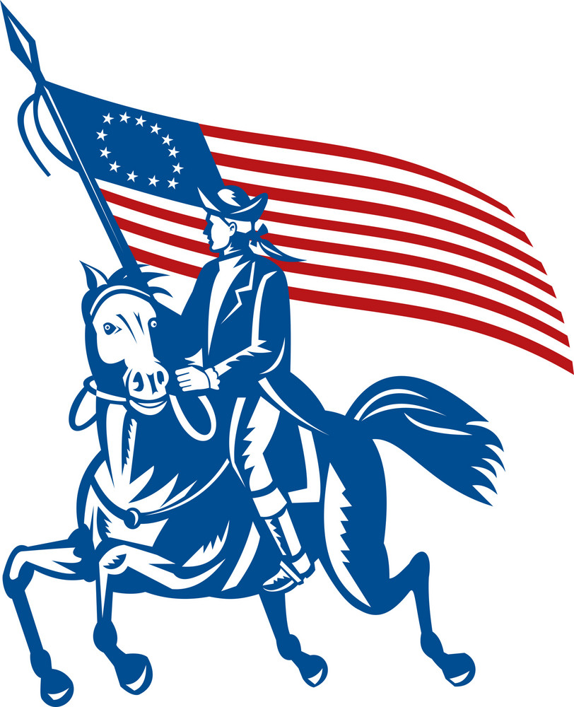 American Revolutionary General Riding Horse Betsy Ross Flag