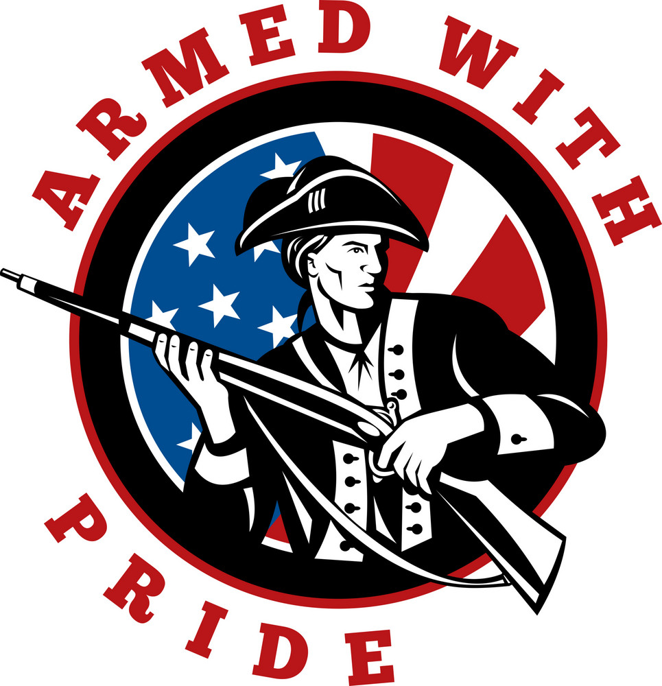 American Revolutionary Soldier With Rifle Flag