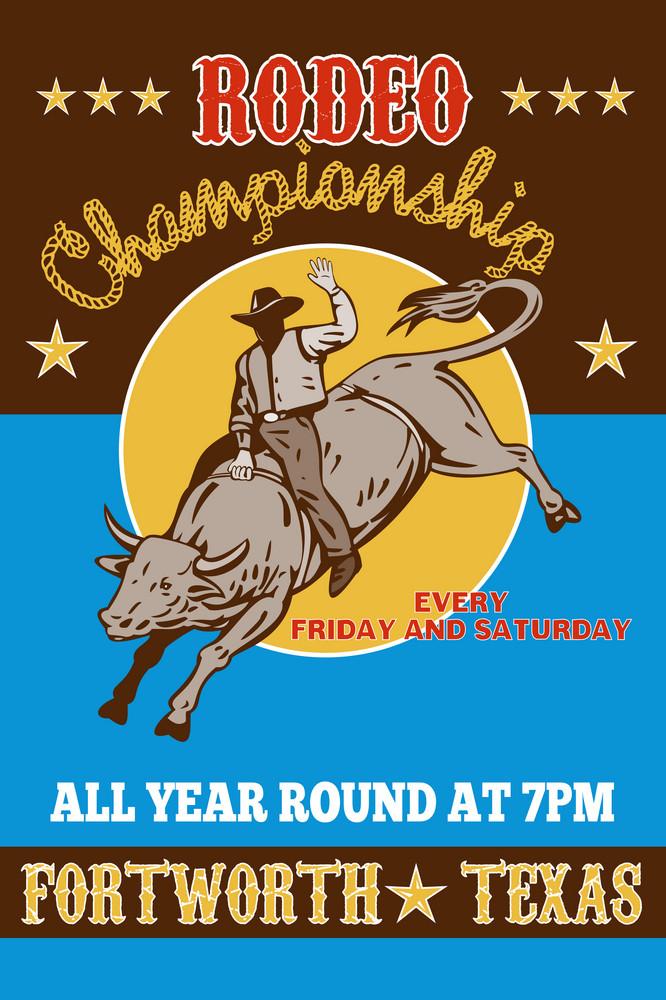 American Rodeo Cowboy Riding  A Bull
