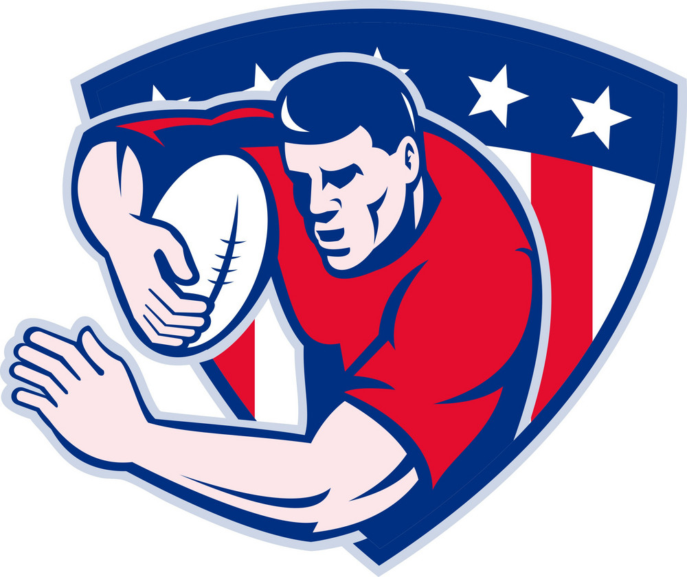 American Rugby Player Fending With Shield
