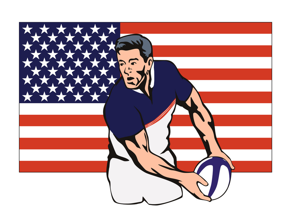 American Rugby Player Passing Ball