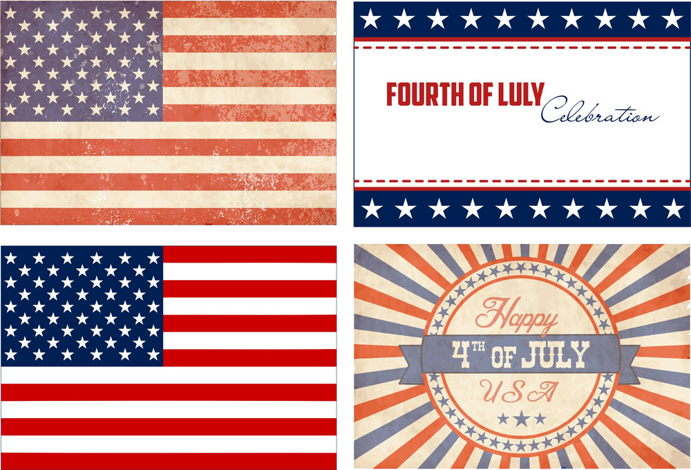 American Set. 2 Types Of Flags And 2 Independance Day Cards