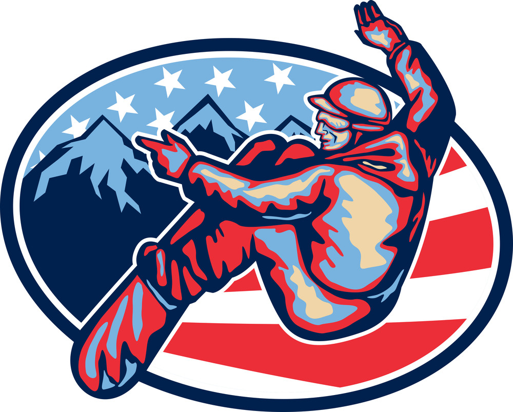 American Snowboarder Jumping Snowboard Retro