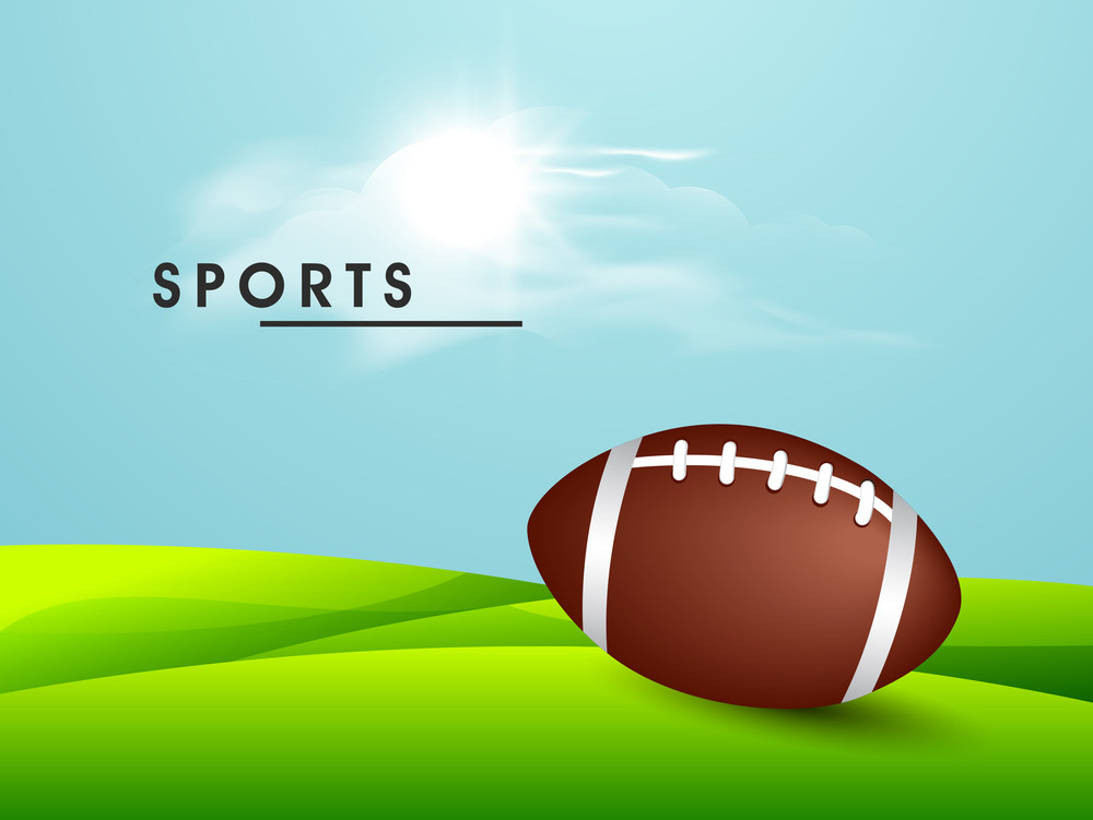 American Soccer Football On Sunny Nature Background.