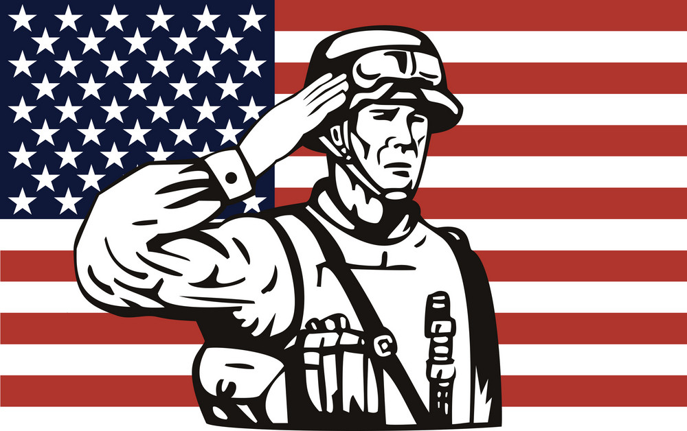 American Soldier Serviceman Saluting
