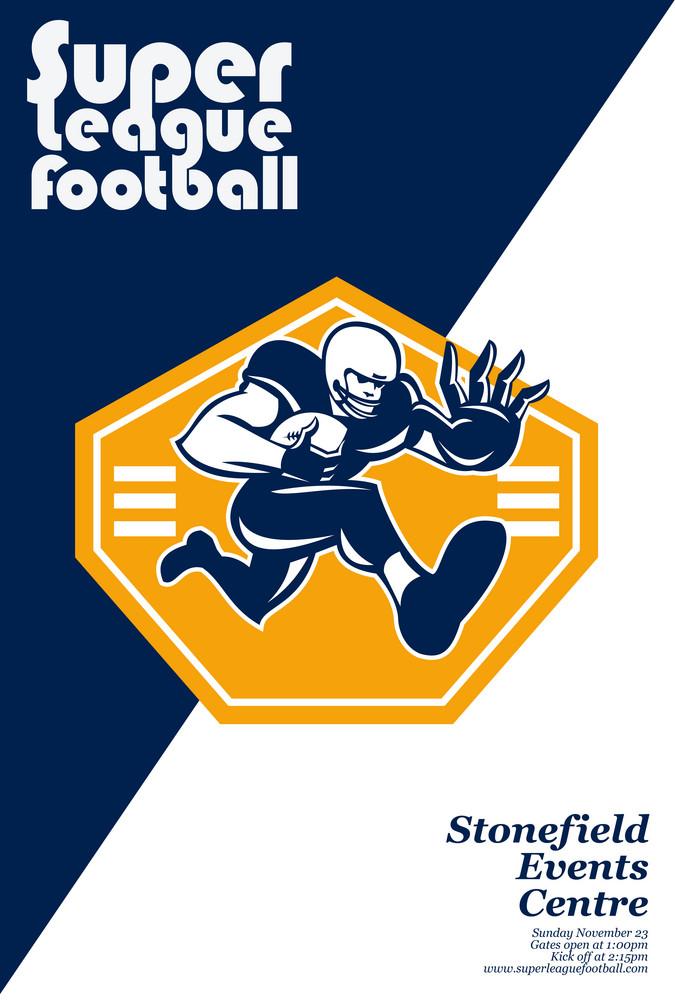 American Super League Football Poster Retro