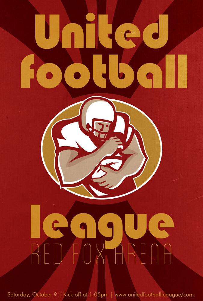 American United Football League Poster Retro