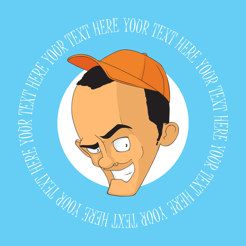 Amusing Head Of The Guy In A Cap. Vector Illustration.