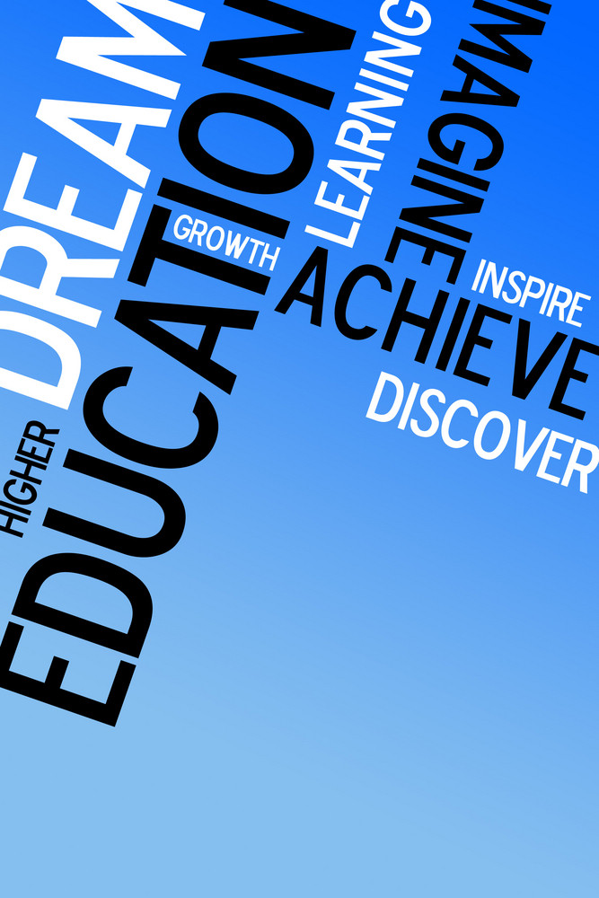 An educational montage with text over a blue background.  Plenty of copy space for your text or images.