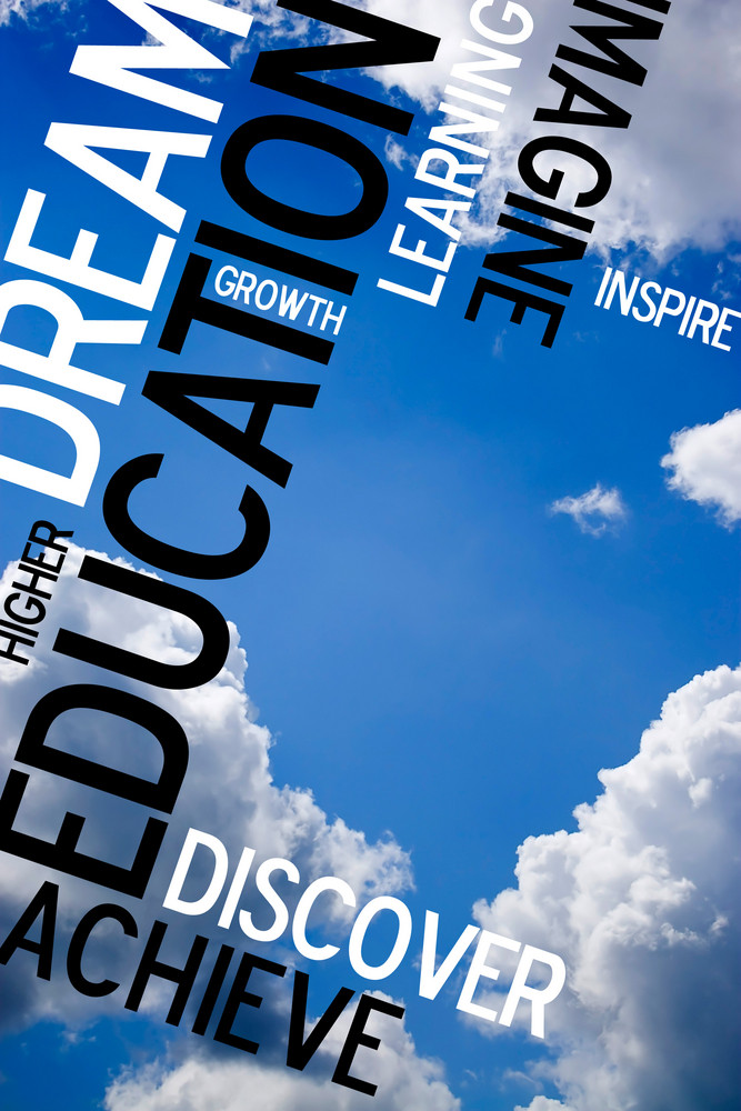 An educational montage with text over a blue sky background.  Plenty of copy space for your text or images.