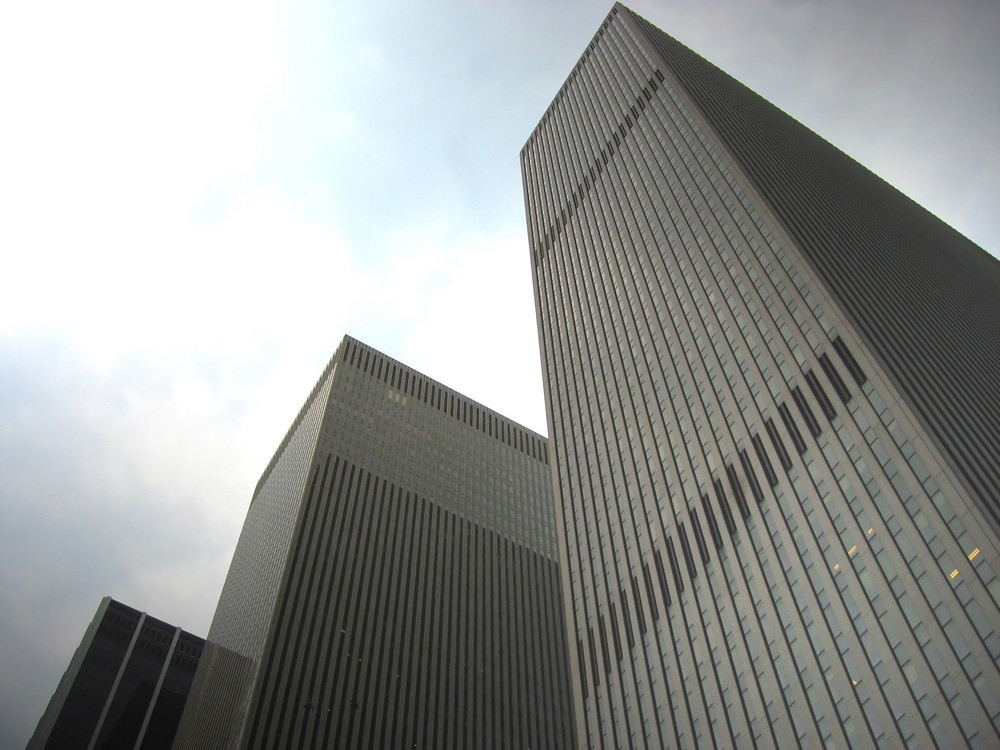 An example of modern corporate architecture found in the city.