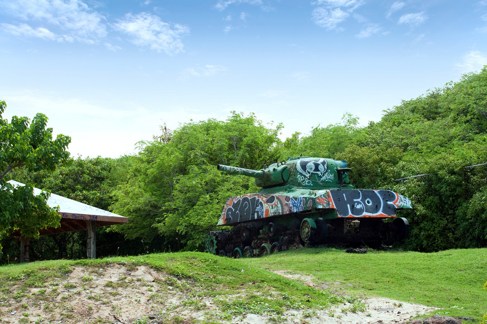 An old tank beached on the Puerto Rican island of Culebra.