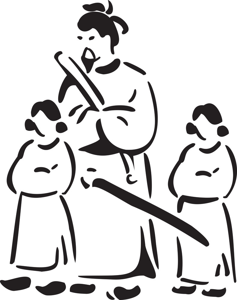 Ancient Japanese Man With Weapon And Two Little Girl.
