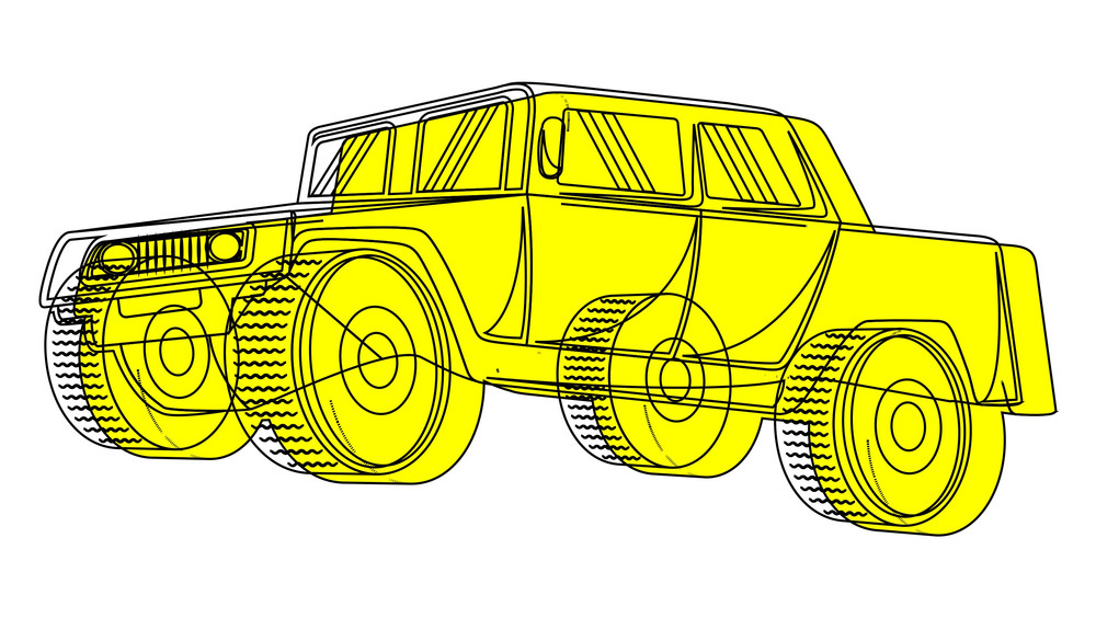 Ancient Jeep Vector Sketching