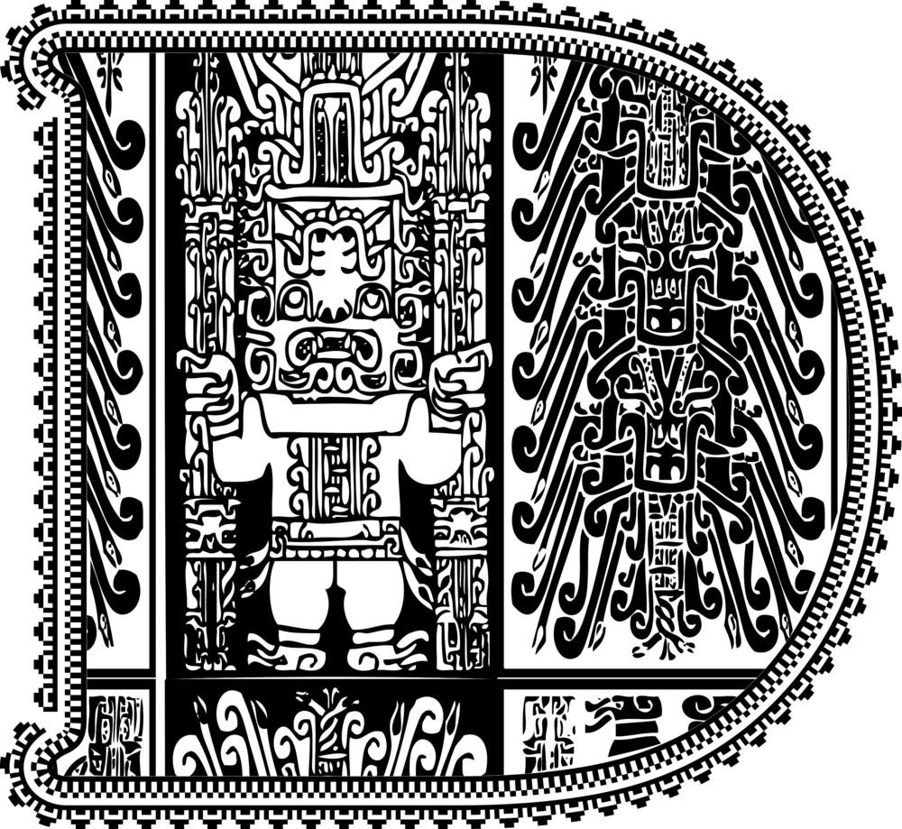 Ancient Letter D. Vector Illustration