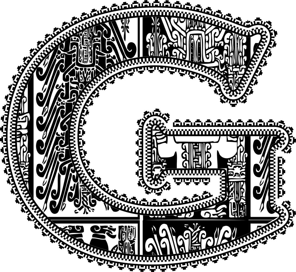 Ancient Letter G. Vector Illustration