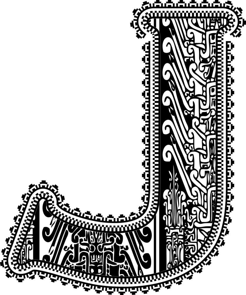 Ancient Letter J. Vector Illustration
