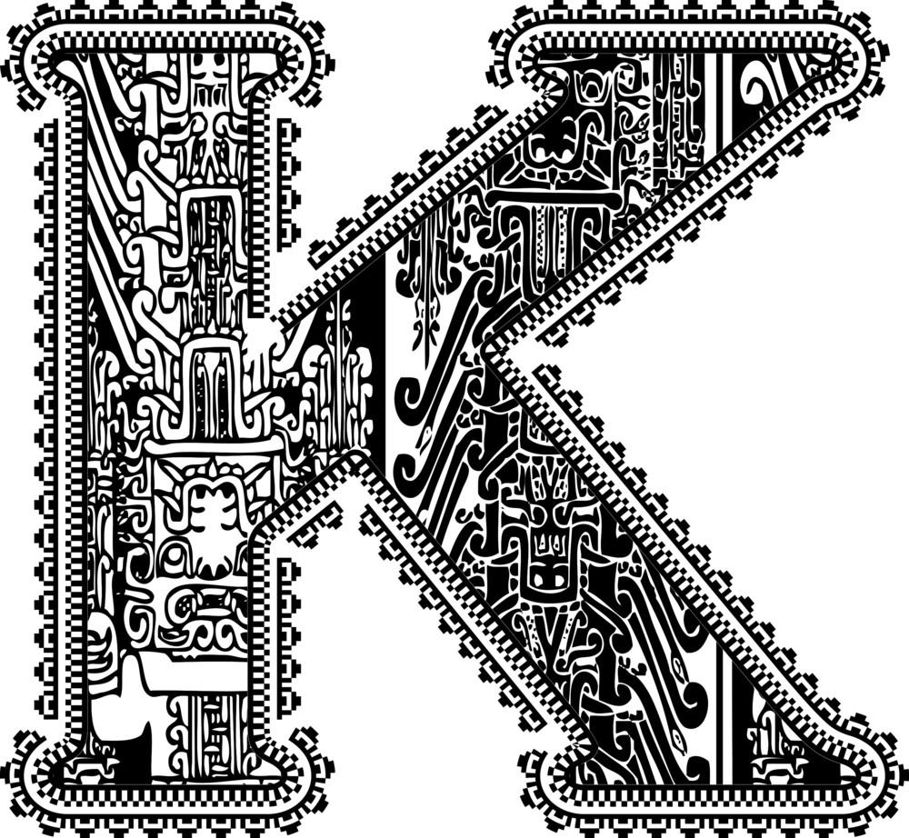 Ancient Letter K. Vector Illustration