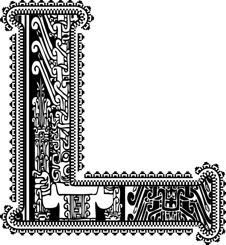 Ancient Letter L. Vector Illustration