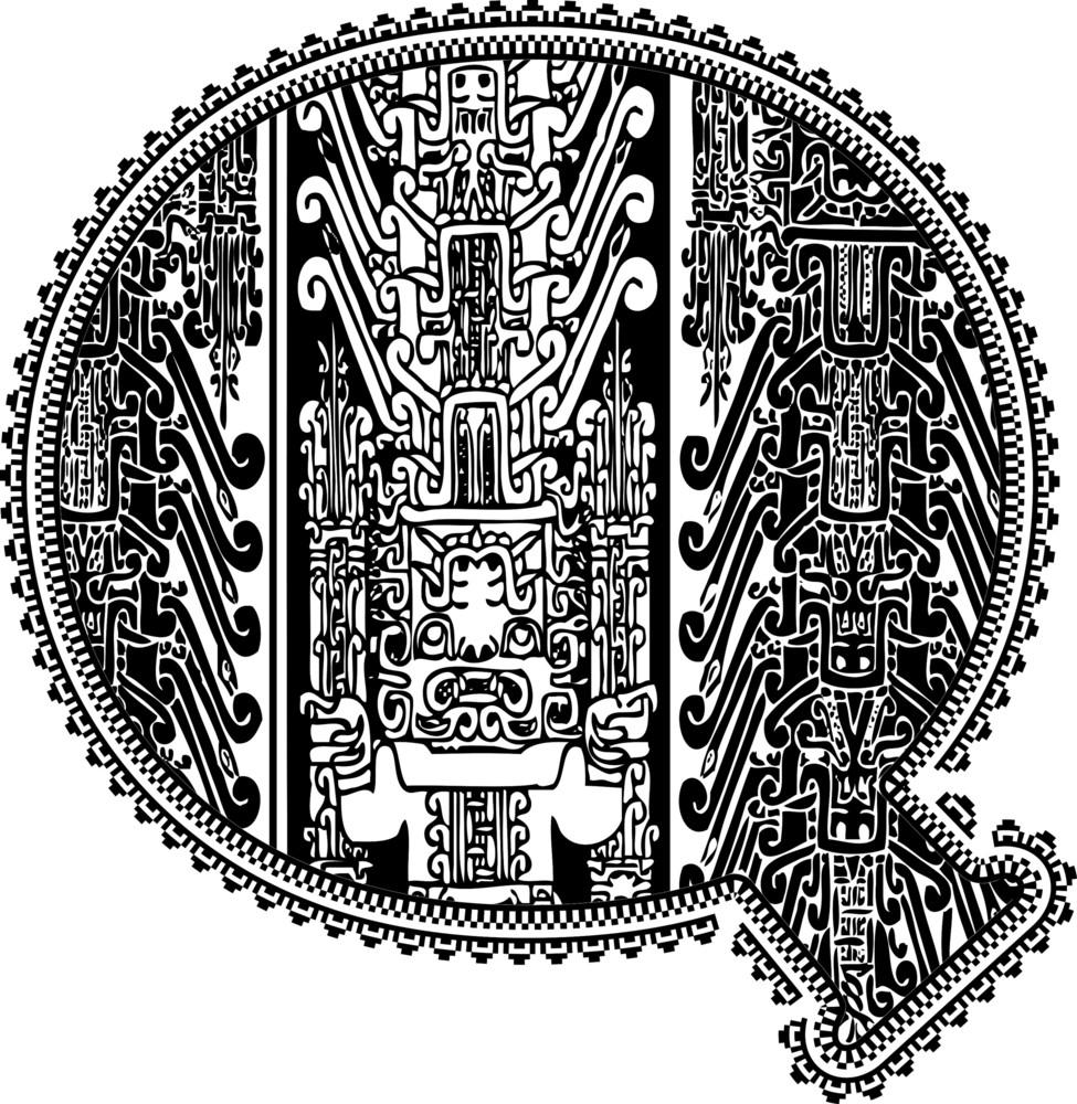 Ancient Letter Q. Vector Illustration