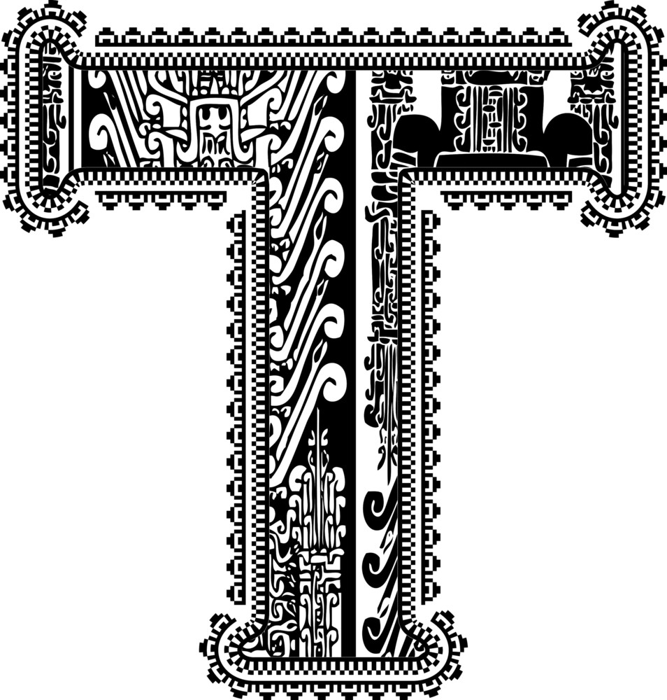 Ancient Letter T. Vector Illustration