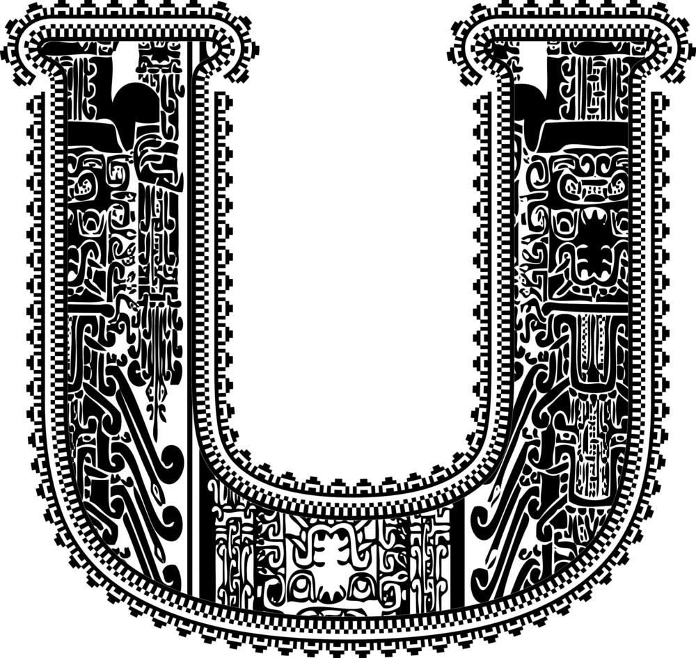 Ancient Letter U. Vector Illustration